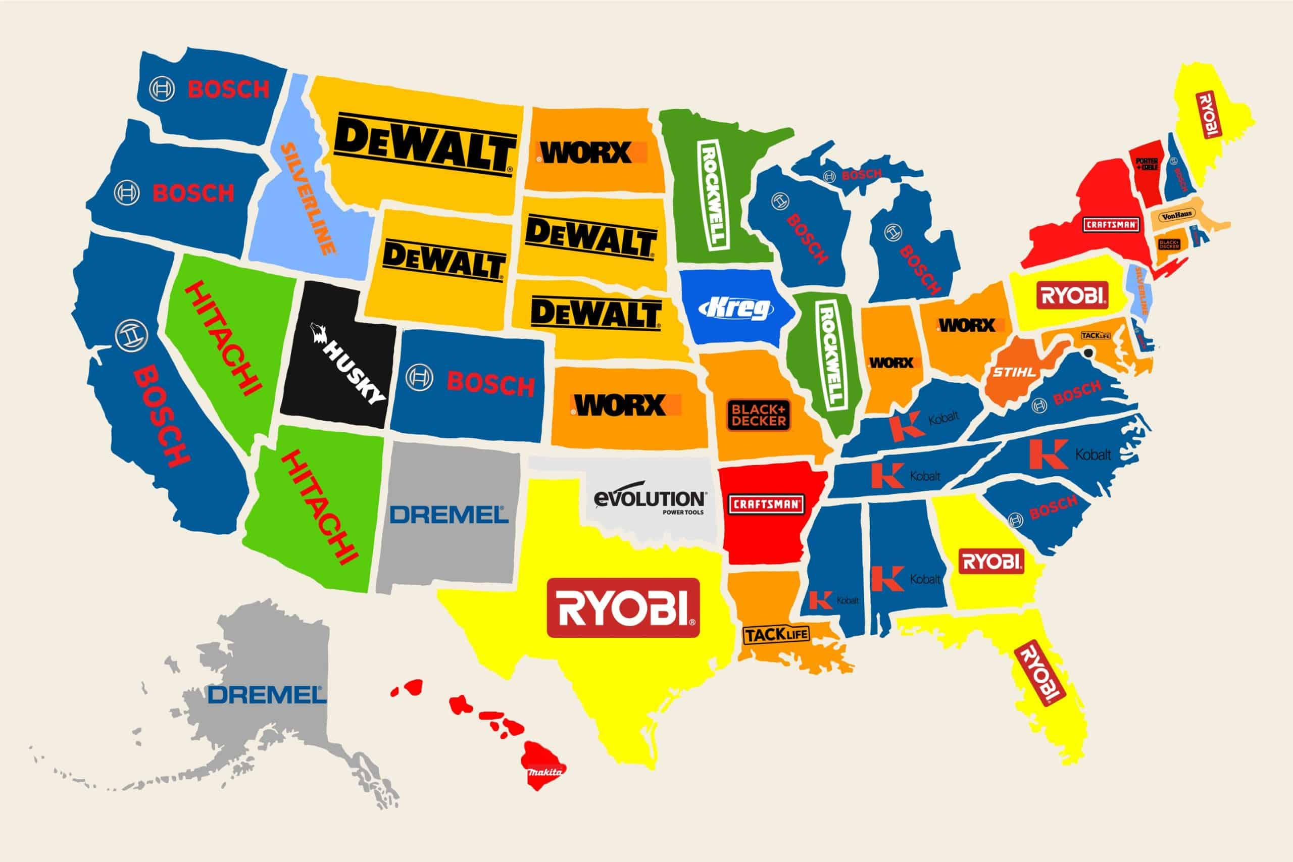 Power tool brand searches by state